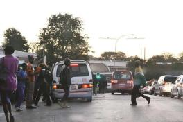 A commuter omnibus picks passengers at an undesignated pick up area along 6th Avenue in Bulawayo yesterday