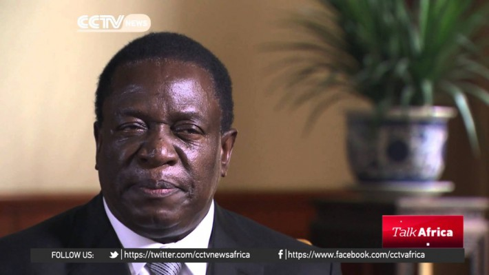 Vice President Emmerson Mnangagwa during an interview with CCTV Africa