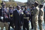File Picture: imbabwean President Robert Mugabe (2nd L) and Commissioner General of Zimbabwe's police forces Augustine Chihuri (3rd L) attend a police graduation parade