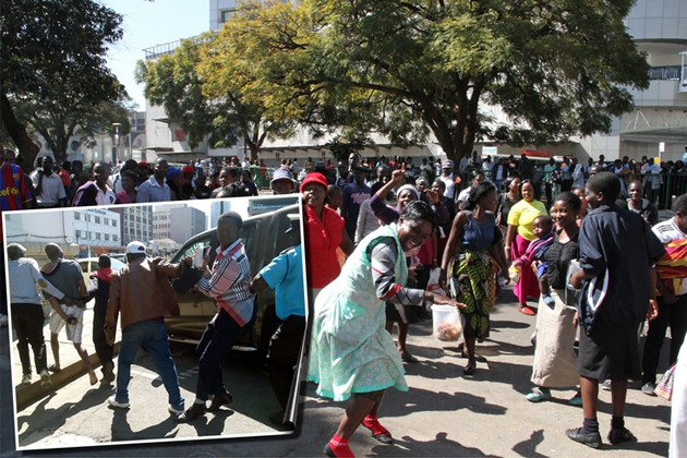 Vendors stage a demonstration at Town House in Harare yesterday, while (inset) municipal police officers arrest leaders of the demo