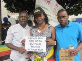 Members of the Zimbabwe Vigil protesting in London at the Zimbabwean Embassy