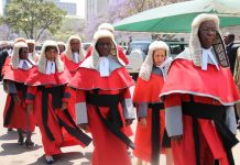 File picture of judges during a procession in the capital Harare