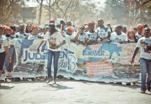 Members of Prophet Emmanuel Makandiwa's church march to advertise Judgement Night 3