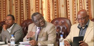 Simba Makoni, Morgan Tsvangirai and Dumiso Dabengwa at a press conference in 2013