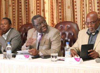 Simba Makoni, Morgan Tsvangirai and Dumiso Dabengwa at a press conference in 2013
