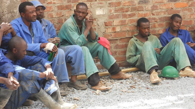 File picture of construction workers on a break