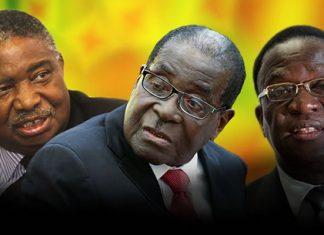 Second VP Phelekezela Mphoko, President Robert Mugabe and First VP Emmerson Mnangagwa