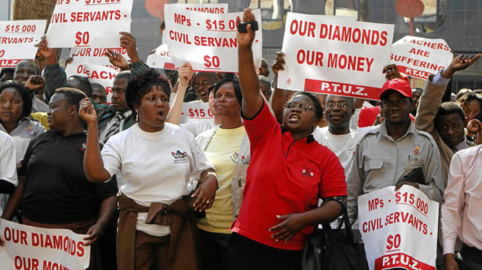 File picture of teachers on strike in Zimbabwe