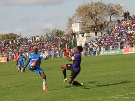Dynamos chief striker Rodreck Mutuma tries to lob the ball over FC Platinum keeper Petros Mhari in a Castle Lager Premier Soccer League match at Mandava yesterday. — (Picture by Paul Mundandi)