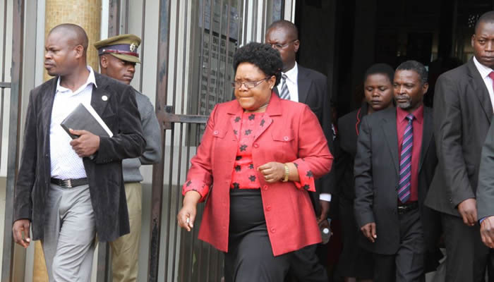 Joice Mujuru seen here at the Harare Magistrates Court during the inquest into her husband's death