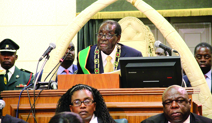 President Robert Mugabe opening second session of the 8th Parliament (Picture by NewsDay)