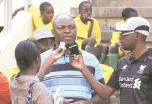 Sunday Chidzambwa, the ZPC Kariba gaffer, addresses the media after his team hammered How Mine 3-0 in a Chibuku Super Cup quarter-final tie at the National Sports Stadium yesterday — (Picture by H-Metro)