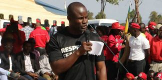 Former Hurungwe West MP Temba Mliswa addressing MDC supporters in Chivhu at the party's 16th anniversary celebrations