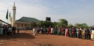 Crowds gathered at the scene of the blast in Nyana the morning after