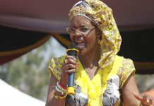 Grace Mugabe addressing one of her power exhibition rallies in Rushinga