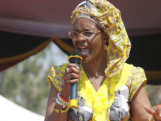 Grace Mugabe addressing one of her power exhibition rallies in Rushinga