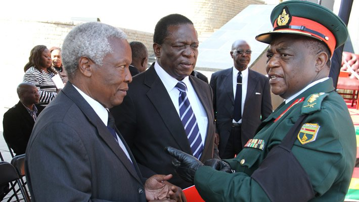 Vice President Emmerson Mnangagwa (centre) seen here with General Constantine Chiwenga (right) and Sydney Sekekeramayi