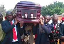 File picture of MDC-T Kuwadzana MP Nelson Chamisa (right) seen here carrying Thamsanqa Mahlangu's coffin
