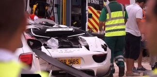 Wreckage of the Porsche 918 Spyder involved in the crash. Photograph: Times of Malta/Screenrgab
