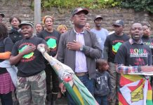 About fifty people gathered in Nottingham on Tuesday to protest outside a clinic run by Dr Sylvester Nyatsuro who is trying to seize a farm in Zimbabwe