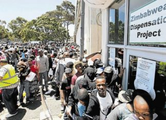 File Picture of Zimbabweans standing in a long queue at a Home Affairs Office in South Africa