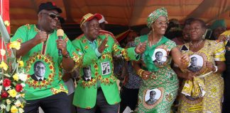First lady Grace Mugabe is joined on the dance floor by by Zanu PF National Commissar Saviour Kasukuwere, Secretary for War Veterans Sydney Sekeramayi and President of Senate Edna Madzongwe at a Zanu Pf Rally held at Murehwa growth point yesterday