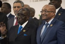 Presidents Robert Mugabe and Jacob Zuma of South Africa