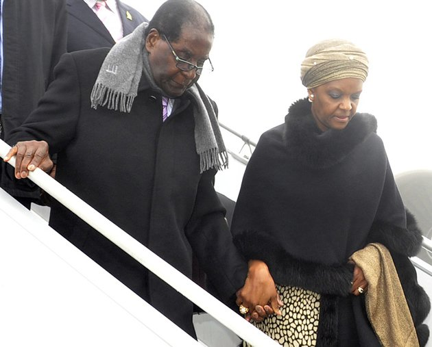 President Mugabe and First Lady Grace Mugabe arrive at Charles de Gaulle Airport yesterday. The President is in Paris to attend the 21st United Nations Framework Convention on Climate Change (Picture by Presidential photographer Joseph Nyadzayo)