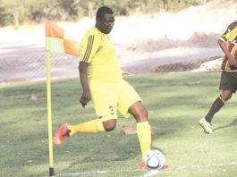LEADING FROM THE FRONT . . . Walter Magaya was an examplary leader on the pitch as he led his Gunners troops against Lake Harvest on Saturday