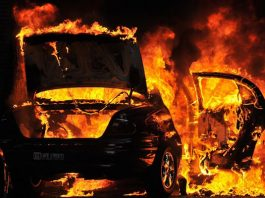 File picture of a burning car