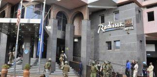 Soldiers surround the Radison Blu hotel in Bamako, Mali