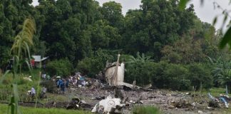 The crash left a tail fin and lumps of fuselage strewn in the vegetation close to the water