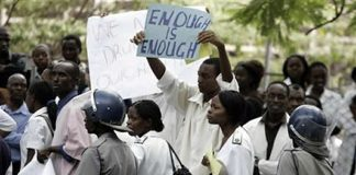File picture of strike by doctors and nurses in Zimbabwe several years ago