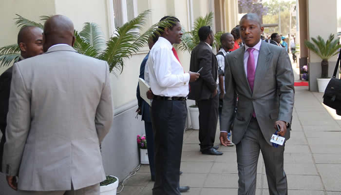 Justice Mayor Wadyajena (right) seen here outside Parliament in Harare