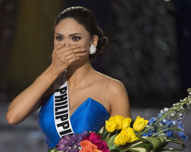Miss Philippines Pia Alonzo Wurtzbach reacts to the announcement establishing her as winner