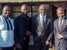 "From left Timothy ""Timmy"" Tapfumaneyi, Thomas ""CST"" Chizhanje, Lawrence ""Bhonzo"" Simbarashe and MP Psychology Maziwisa"