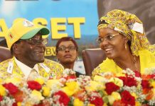President Robert Mugabe and First Lady Grace Mugabe at Zanu PF conference in Victoria Falls