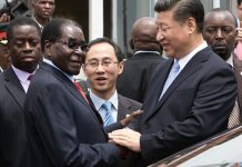 Robert Mugabe shakes hands with Xi Jinping as the Chinese president arrives in Harare on Tuesday