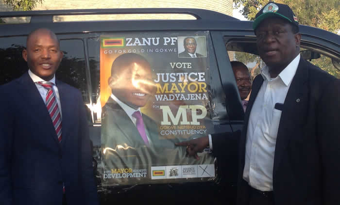 Justice Mayor Wadyajena seen here with his political godfather Vice President Emmerson Mnangagwa