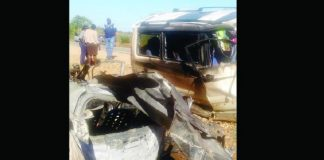 The wreckages of the Honda Fit and Toyota Noah which collided head-on along the Masvingo-Mbalabala Road near Zvishavane yesterday