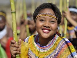 A young virgin partakes in the annual Reed Dance on August 31 at the Enyokeni Royal