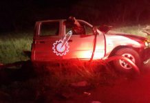 The wreckage of the Ford Ranger twin-cab that was involved in an accident in Limpopo Province early morning on Wednesday (Pic by Thupeyo Muleya)
