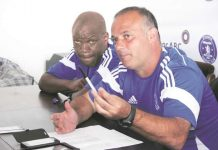 Dynamos new head coach Paulo Jorge Silva (right) stresses a point in the company of his assistant Lloyd Mutasa at a media conference in Harare where he said he expects the Glamour Boys to be champions