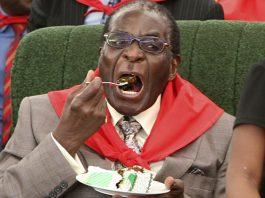 President Mugabe literally having his cake and eating it