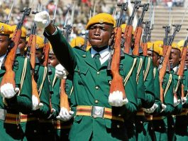 File picture of Zimbabwe National Army (ZNA) soldiers on parade