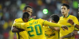 Khama Billiat and his Sundowns teammates perform the popular Dab celebration after dumping Chicken Inn out of the CAF Champions League