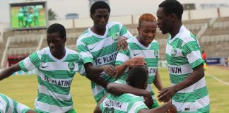 FC Platinum players celebrate scoring a winning goal