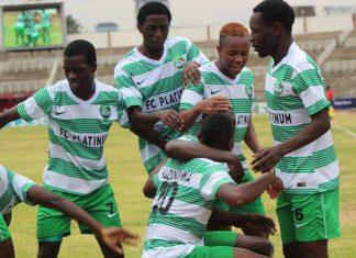 FC Platinum players celebrate scoring a winning goal