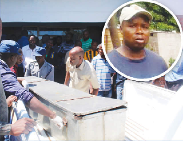 Police officers collect the body of Godfrey Marange from a house where he was staying in Emakhandeni, Bulawayo. Inset, the late Godfrey Marange