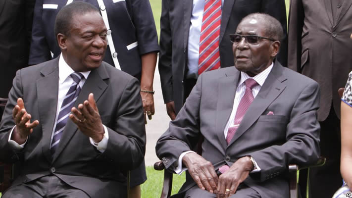 Vice President Emmerson Mnangagwa seen where with President Robert Mugabe